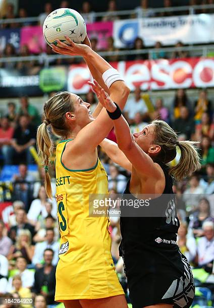 Caitlin Bassett of Australia shoots for goal during game five of the Constellation Cup series between the Australian Diamonds and the New Zealand...