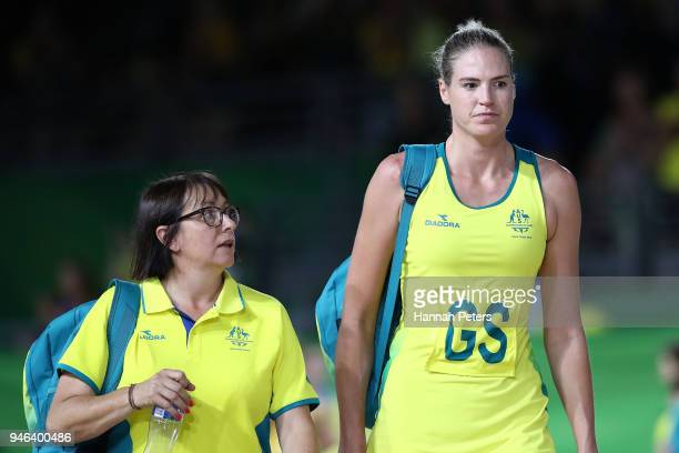 Caitlin Bassett of Australia shows her emotion following the Netball Gold Medal Match on day 11 of the Gold Coast 2018 Commonwealth Games at Coomera...