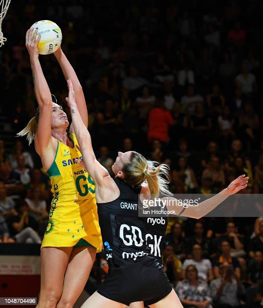 Caitlin Bassett of the Diamonds catches the ball during the Constellation Cup match between the Australian Diamonds and the New Zealand Silver Ferns...