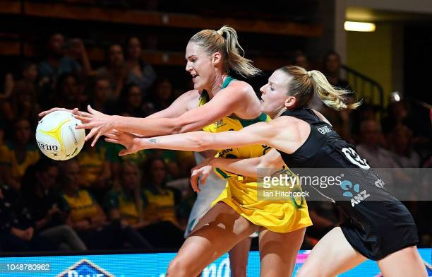 Caitlin Bassett of the Diamonds contests the ball with Jane Watson of the Silver Ferns during the Constellation Cup match between the Australian...