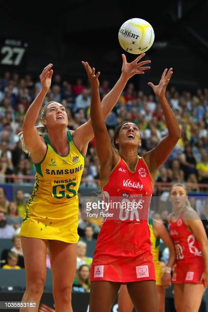Gretel Tippett of the Diamonds takes control of the ball during the Quad Series International Netball test match between the Australian Diamonds and...