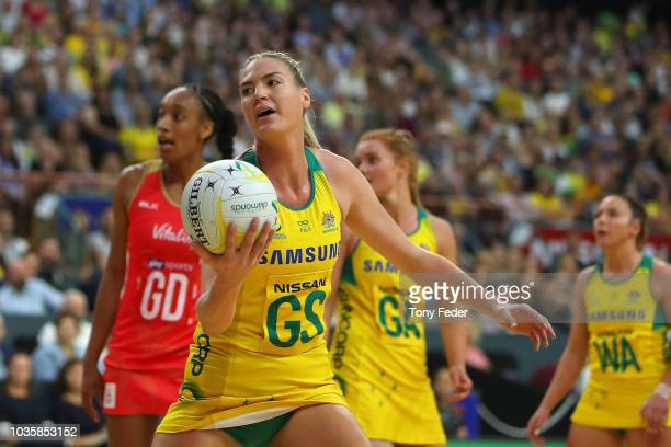 Caitlin Bassett of the Diamonds controls the ball during the Quad Series International Netball test match between the Australian Diamonds and the...