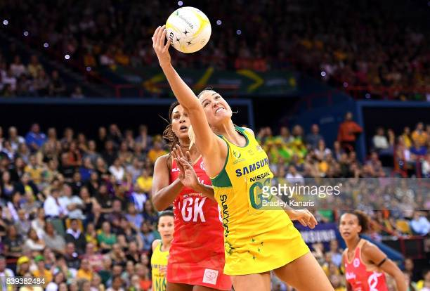 Caitlin Bassett of the Diamonds gets above Geva Mentor of the Roses as they compete for the ball during the 2017 Netball Quad Series match between...