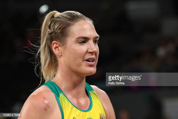 Caitlin Bassett of the Diamonds looks on during the Quad Series International Test match between the Australian Diamonds and the New Zealand Silver...