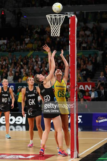 Caitlin Bassett of the Diamonds shoots during the Quad Series International Test match between the Australian Diamonds and the New Zealand Silver...
