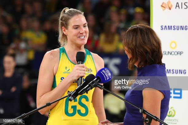 Caitlin Bassett of the Diamonds speaks to Liz Ellis after the Australian Diamonds win the Quad Series International Test match between the Australian...