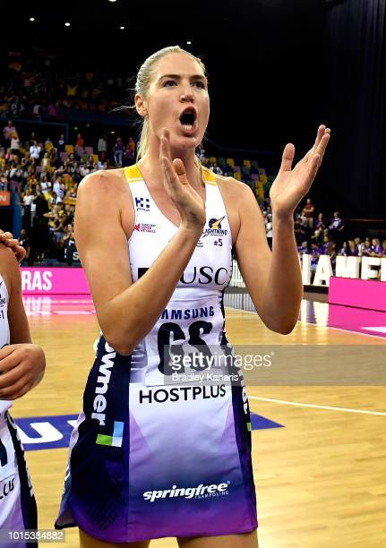 Caitlin Bassett of the Lightning celebrates victory after the Super Netball Major Semi Final match between the Firebirds and the Lightning at...