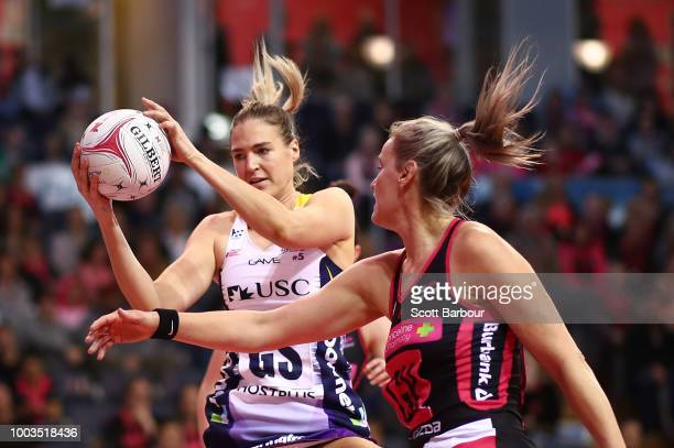 Chelsea Pitman of the Thunderbirds controls the ball during the Super Netball match between the Thunderbirds and the Lightning at Priceline Stadium...