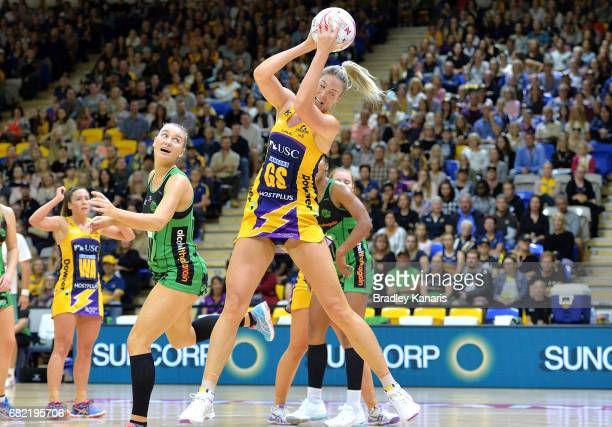 Caitlin Bassett of the Lightning in action during the round 12 Super Netball match between the Lightning and the Fever at University of the Sunshine...