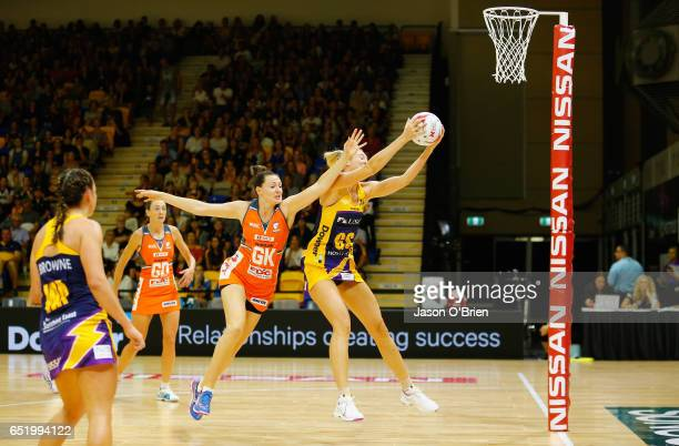 Caitlin Bassett of the Lightning in action during the round four Super Netball match between the Lightning and the Giants at University of the...