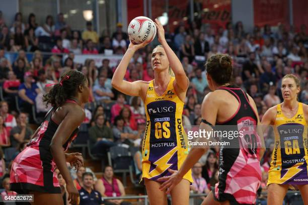 Caitlin Bassett of the Lightning shoots during the round three Super Netball match between the Thunderbirds and the Lightning at Priceline Stadium on...