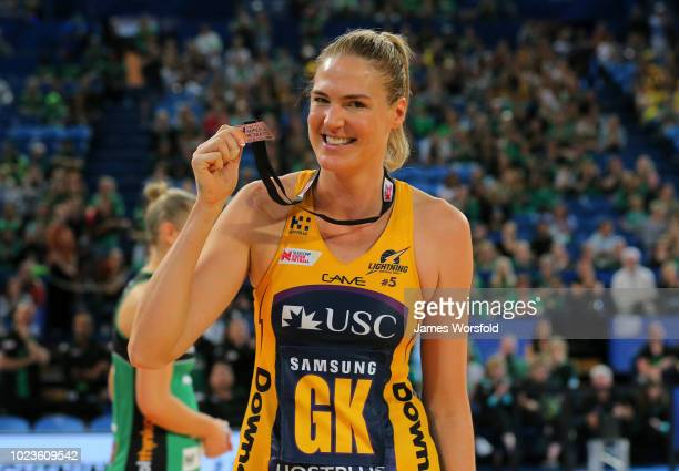 Caitlin Bassett of the Sunshine Coast Lightning poses with MVP Medal during the presentation of the Super Netball Grand Final match between the the...
