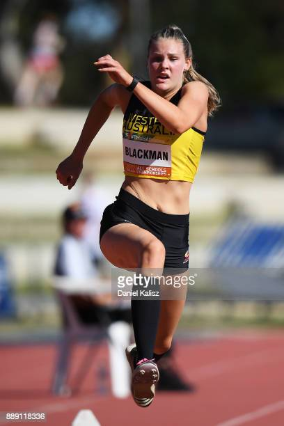 Caitlin Blackman of Western Australia competes in the girls under 18 Triple Jump during the Australian All Schools Championship on December 10 2017...