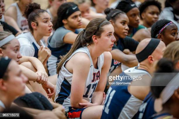 Caitlin Clark of West Des Moines Iowa listens on to speakers while participating in tryouts for the 2018 USA Basketball Women's U17 World Cup Team at...