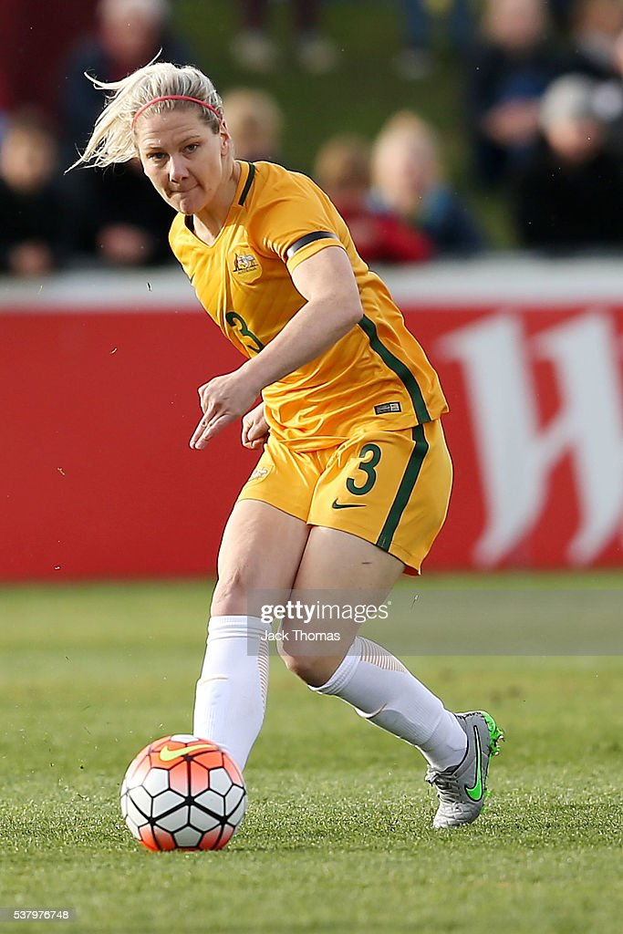 Caitlin Cooper of Australia kicks the ball during the women's international friendly match between the Australian Matildas and the New Zealand Football Ferns at Morshead Park on June 4, 2016 in Ballarat, Australia.