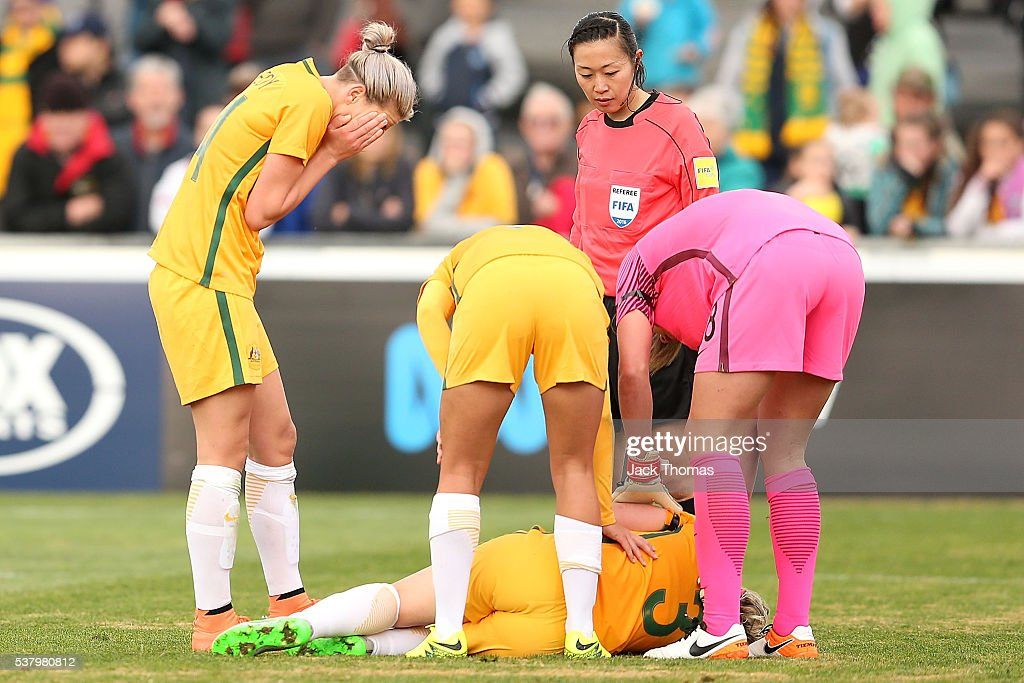 Caitlin Cooper of Australia reacts after falling during the women's international friendly match between the Australian Matildas and the New Zealand Football Ferns at Morshead Park on June 4, 2016 in Ballarat, Australia.