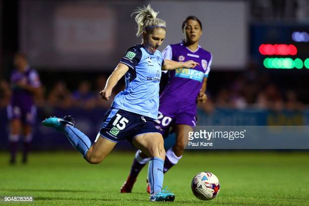 Caitlin Cooper of Sydney passes the ball during the round 11 WLeague match between the Perth Glory and Sydney FC at Dorrien Gardens on January 14...