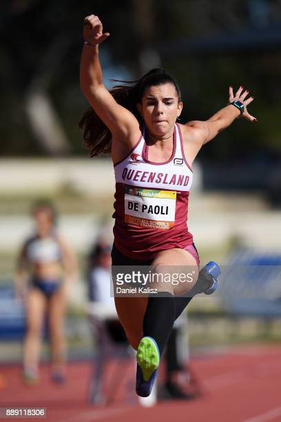 Caitlin De Paoli of Queensland competes in the girls under 18 Triple Jump during the Australian All Schools Championship on December 10 2017 in...