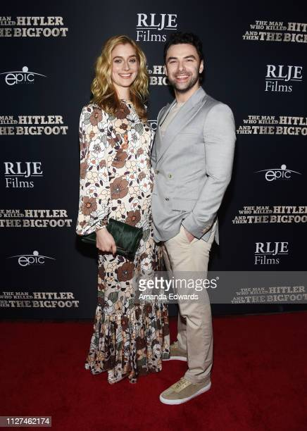 Caitlin Fitzgerald and Aidan Turner arrive at RLJE Films' The Man Who Killed Hitler And Then Bigfoot premiere at ArcLight Hollywood on February 04...