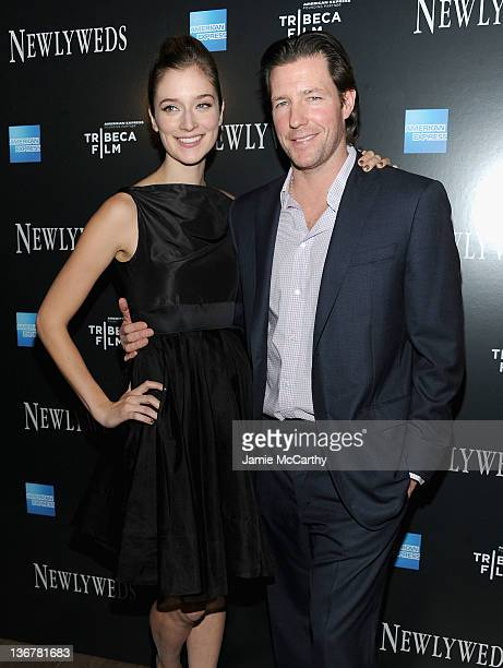 Caitlin Fitzgerald and Ed Burns attend the premiere of Newlyweds at the Crosby Street Hotel on January 11 2012 in New York City