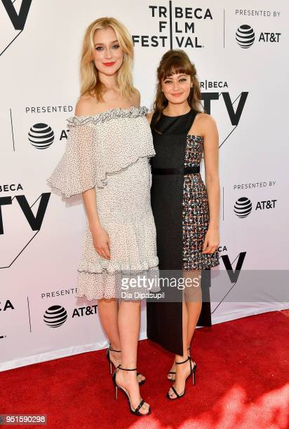 Caitlin FitzGerald and Ella Purnell attend the screeing of Sweetbitter during the 2018 Tribeca Film Festival at SVA Theatre on April 26 2018 in New...