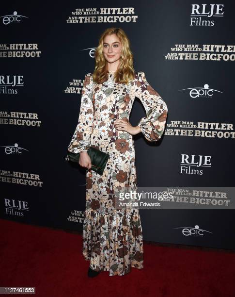 Caitlin Fitzgerald arrives at RLJE Films' The Man Who Killed Hitler And Then Bigfoot premiere at ArcLight Hollywood on February 04 2019 in Hollywood...