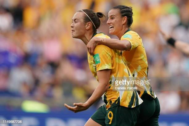 Caitlin Foord and Chloe Logarzo of Australia celebrate Caitlin's goal during the 2019 FIFA Women's World Cup France group C match between Australia...