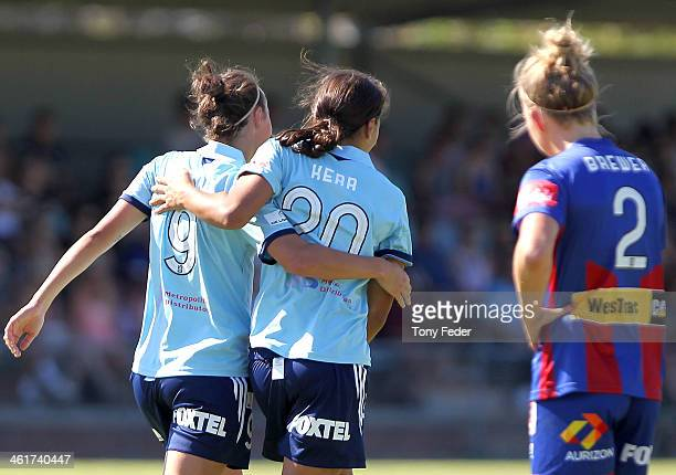 Caitlin Foord and Samantha Kerr of Sydney FC celebrate a goal during the round eight WLeague match between the Newcastle Jets and Sydney FC at...