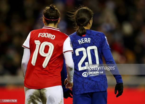 Caitlin Foord of Arsenal and Sam Kerr of Chelsea during the FA Women's Continental League Cup Final Chelsea FC Women and Arsenal FC Women at City...