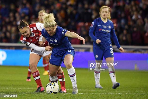 Caitlin Foord of Arsenal battles for possession with Millie Bright of Chelsea during the FA Women's Continental League Cup Final Chelsea FC Women and...