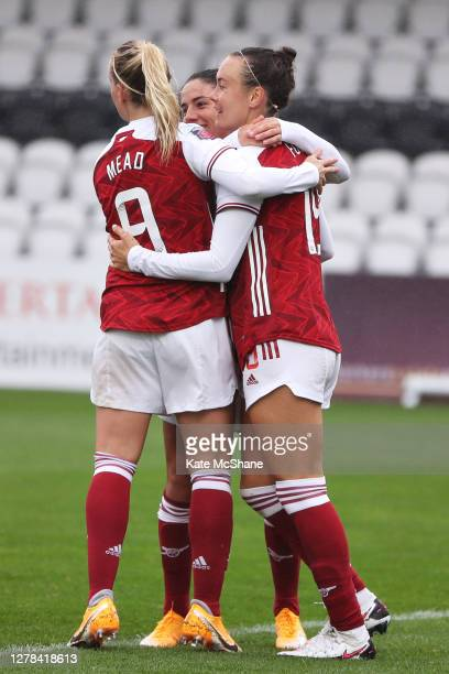 Caitlin Foord of Arsenal FC celebrates after she scores her sides second goal during the Barclays FA Women's Super League match between Arsenal and...
