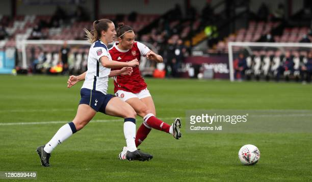 Caitlin Foord of Arsenal scores her team's third goal during the Barclays FA Women's Super League match between Arsenal Women and Tottenham Hotspur...