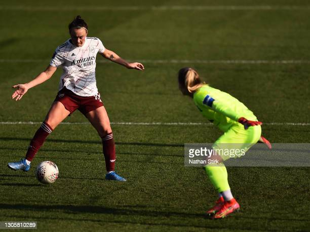 Caitlin Foord of Arsenal scores their sides second goal past Hannah Hampton of Birmingham City during the Barclays FA Women's Super League match...