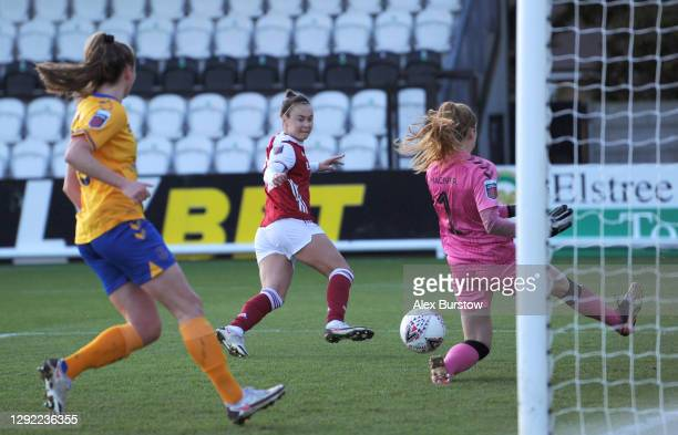 Caitlin Foord of Arsenal scores their team's second goal during the Barclays FA Women's Super League match between Arsenal Women and Everton Women at...