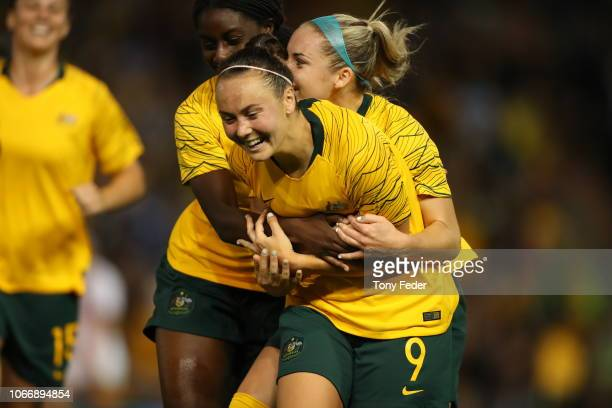 Caitlin Foord of Australia celebrates a goal during the International Women's Friendly match between the Australian Matildas and Chile at McDonald...