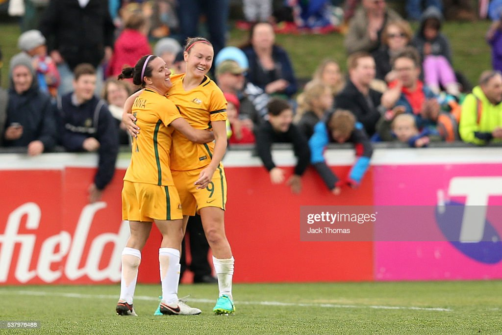 Caitlin Foord of Australia (R) celebrates a goal with team mate Lisa De Vanna of Australia during the women's international friendly match between the Australian Matildas and the New Zealand Football Ferns at Morshead Park on June 4, 2016 in Ballarat, Australia.