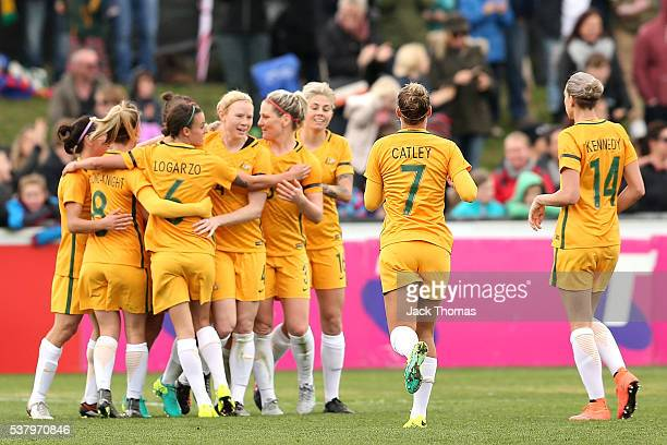 Caitlin Foord of Australia celebrates a second goal with team mates during the women's international friendly match between the Australian Matildas...