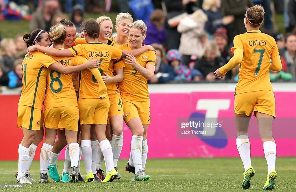 Caitlin Foord of Australia celebrates a second goal with team mates during the women's international friendly match between the Australian Matildas and the New Zealand Football Ferns at Morshead Park on June 4, 2016 in Ballarat, Australia.