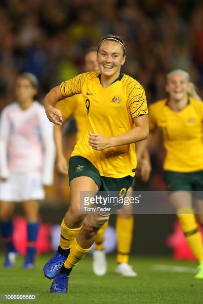 Caitlin Foord of Australia celebrates after scoring a goal during the International Women's Friendly match between the Australian Matildas and Chile...