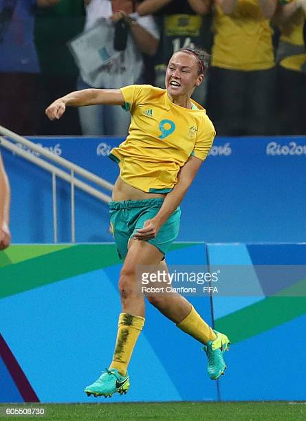 Caitlin Foord of Australia celebrates after scoring a goal during the Women's First Round Group F match between Germany and Australia on Day 1 of the...