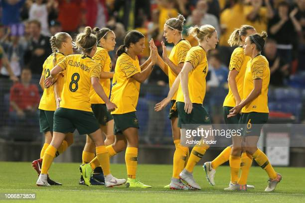 Caitlin Foord of Australia celebrates her goal with team mates during the International Women's Friendly match between the Australian Matildas and...