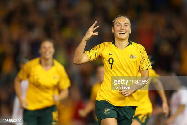 Caitlin Foord of Australia celebrates her third goal during the International Women's Friendly match between the Australian Matildas and Chile at...