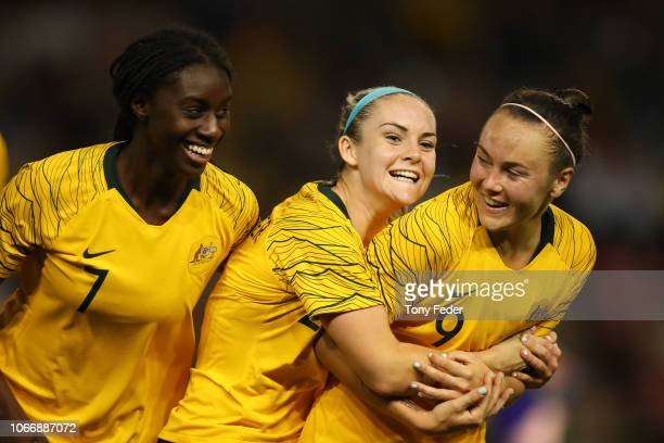 Caitlin Foord of Australia celebrates her third goal with team mates during the International Women's Friendly match between the Australian Matildas...