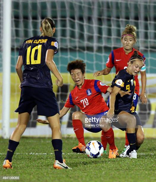 Caitlin Foord of Australia clashes with Kim Hye Ri of Korea Republic during the AFC Women's Asian Cup Semi Final match between Korea Republic and...