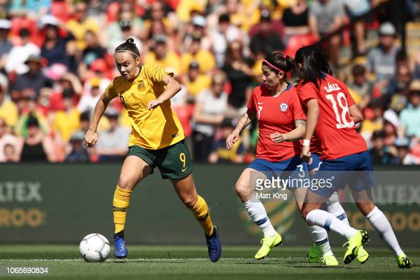 Caitlin Foord of Australia controls the ball during the International Friendly match between the Australian Matildas and Chile at Panthers Stadium on...