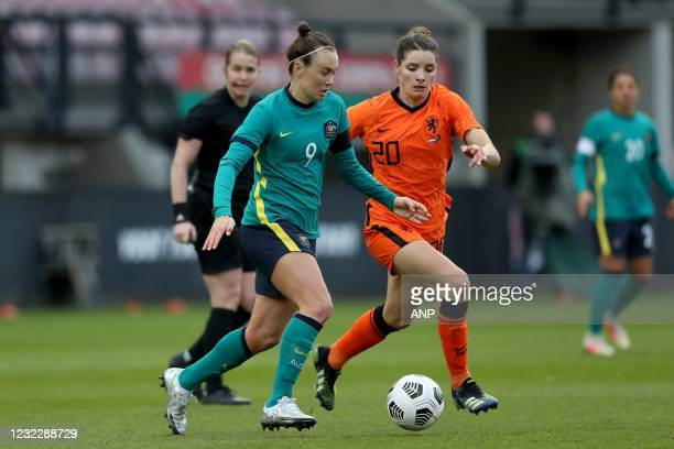 Caitlin Foord of Australia, Dominique Janssen of Holland during the international women's friendly match between the Netherlands and Australia at the...