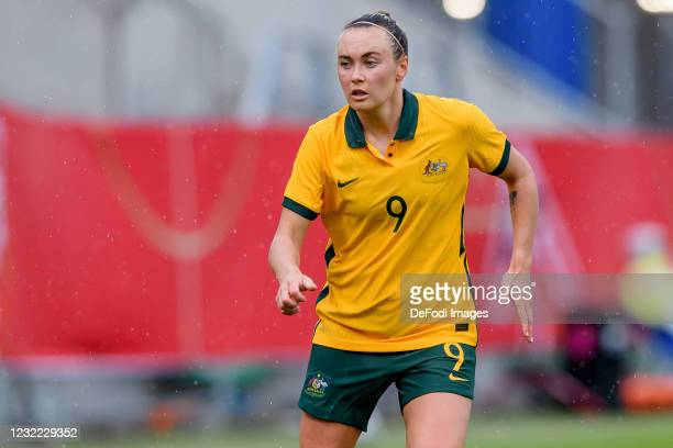 Caitlin Foord of Australia looks on during the Women's International Friendly match between Germany and Australia at BRITA-Arena on April 10, 2021 in...