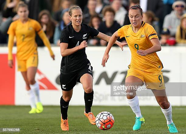 Caitlin Foord of Australia runs with the ball during the women's international friendly match between the Australian Matildas and the New Zealand...