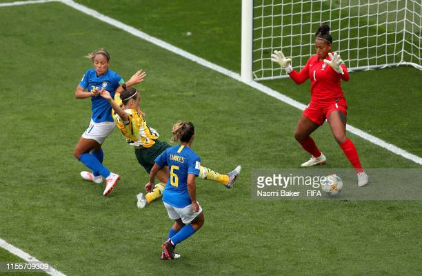 Caitlin Foord of Australia scores her team's first goal during the 2019 FIFA Women's World Cup France group C match between Australia and Brazil at...