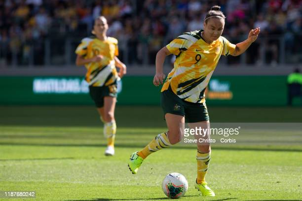 Caitlin Foord of Australia takes on Chile's Francisca Lara during the International friendly match between the Australian Matildas and Chile at...